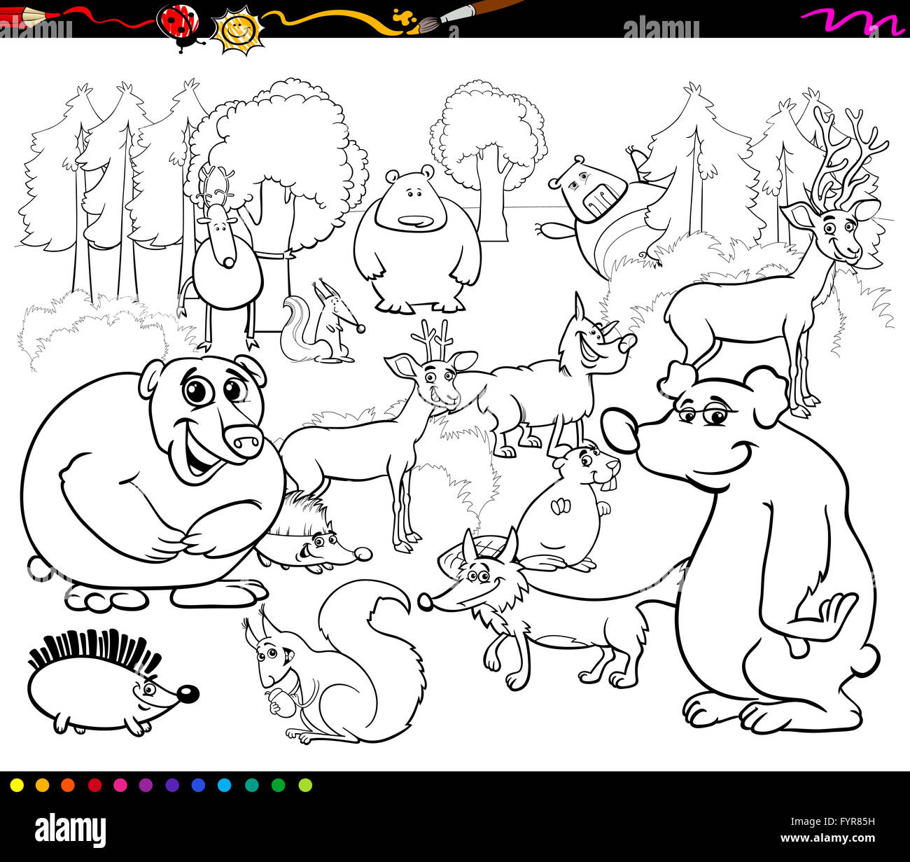 Wild Forest Animals Coloring Book Stock Photos & Wild Forest Animals ...