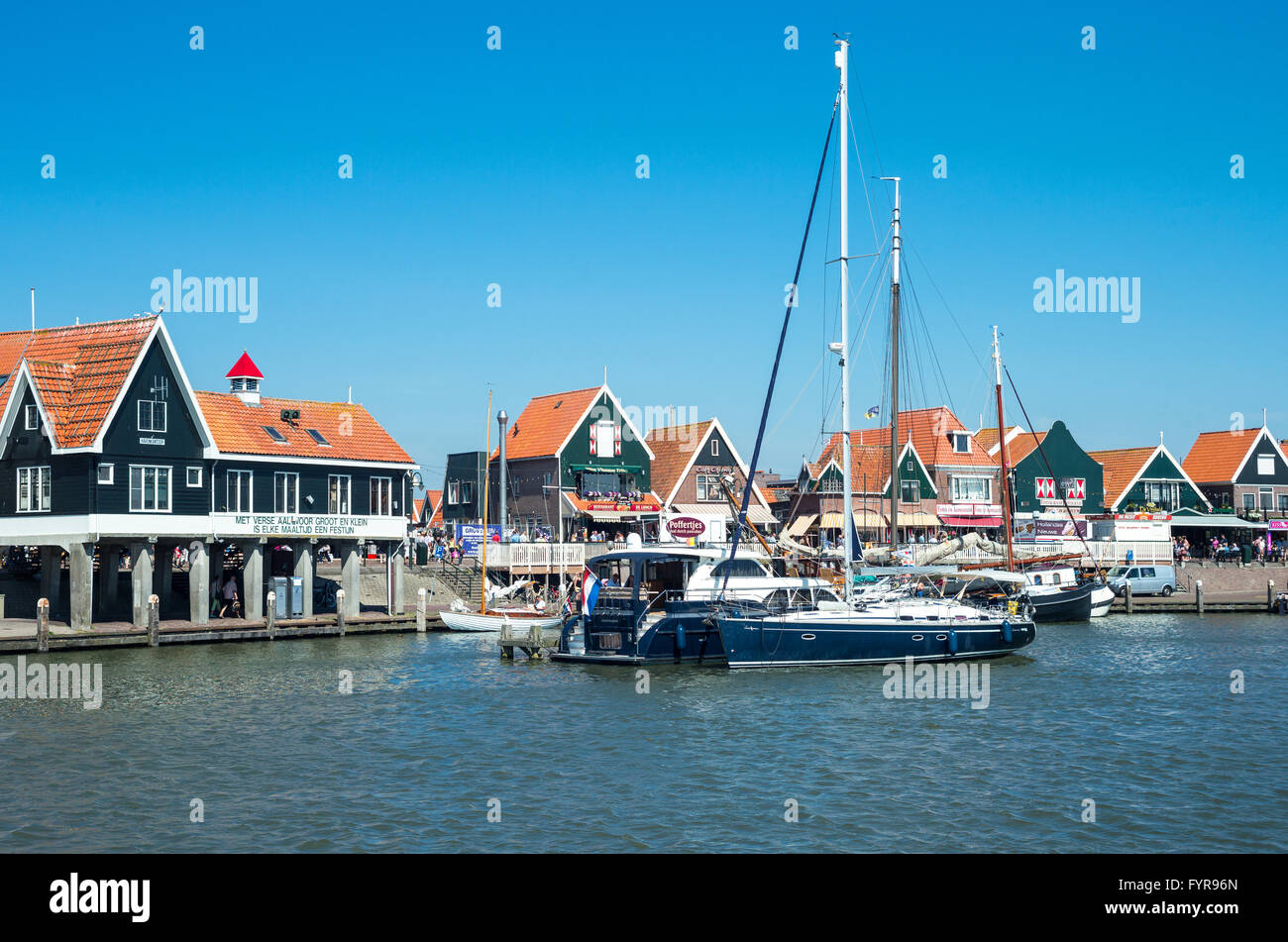 Amsterdam, Waterland district, Volendam, the harbour in front of the town center Stock Photo