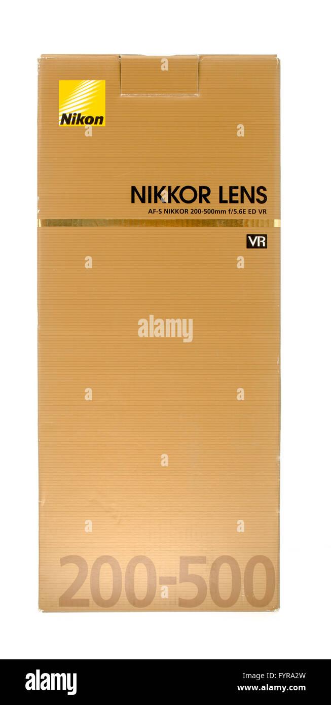 Winneconne, WI - 18 Nov 2015: Box of a Nikkor 200-500mm Nikon lens. - Stock Image