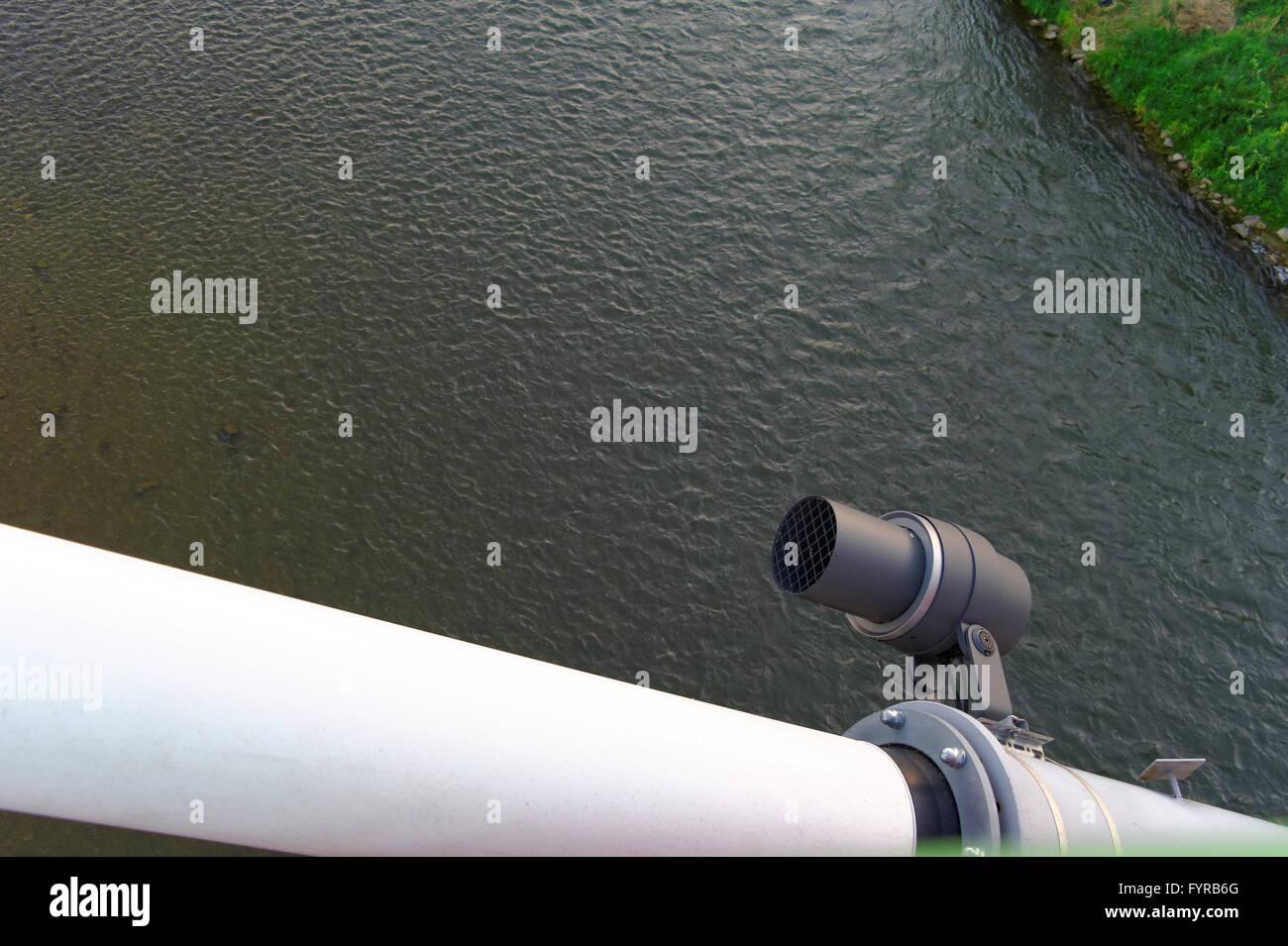 closeup of the spotlight on grider of the bridge Stock Photo