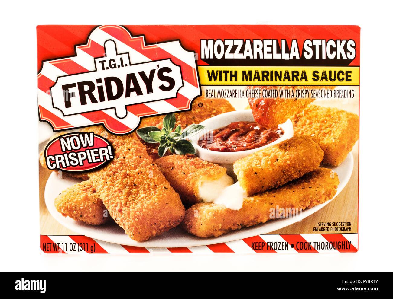 Winneconne, WI - 7 August 2015:  A box of T.G.I. Friday's mozzarella sticks. Stock Photo