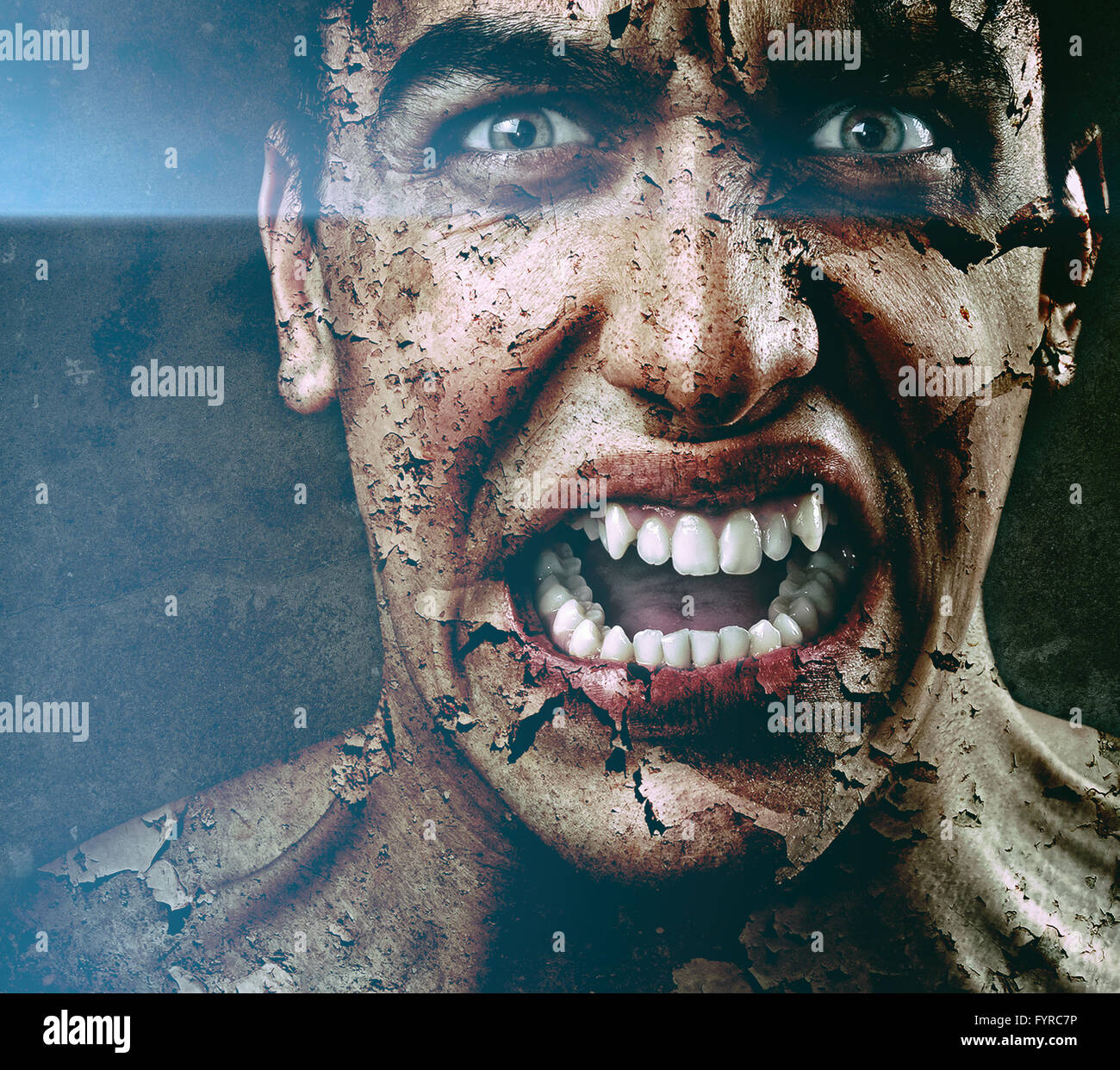 Spooky sinister man with aged cracked peeling skin - Stock Image