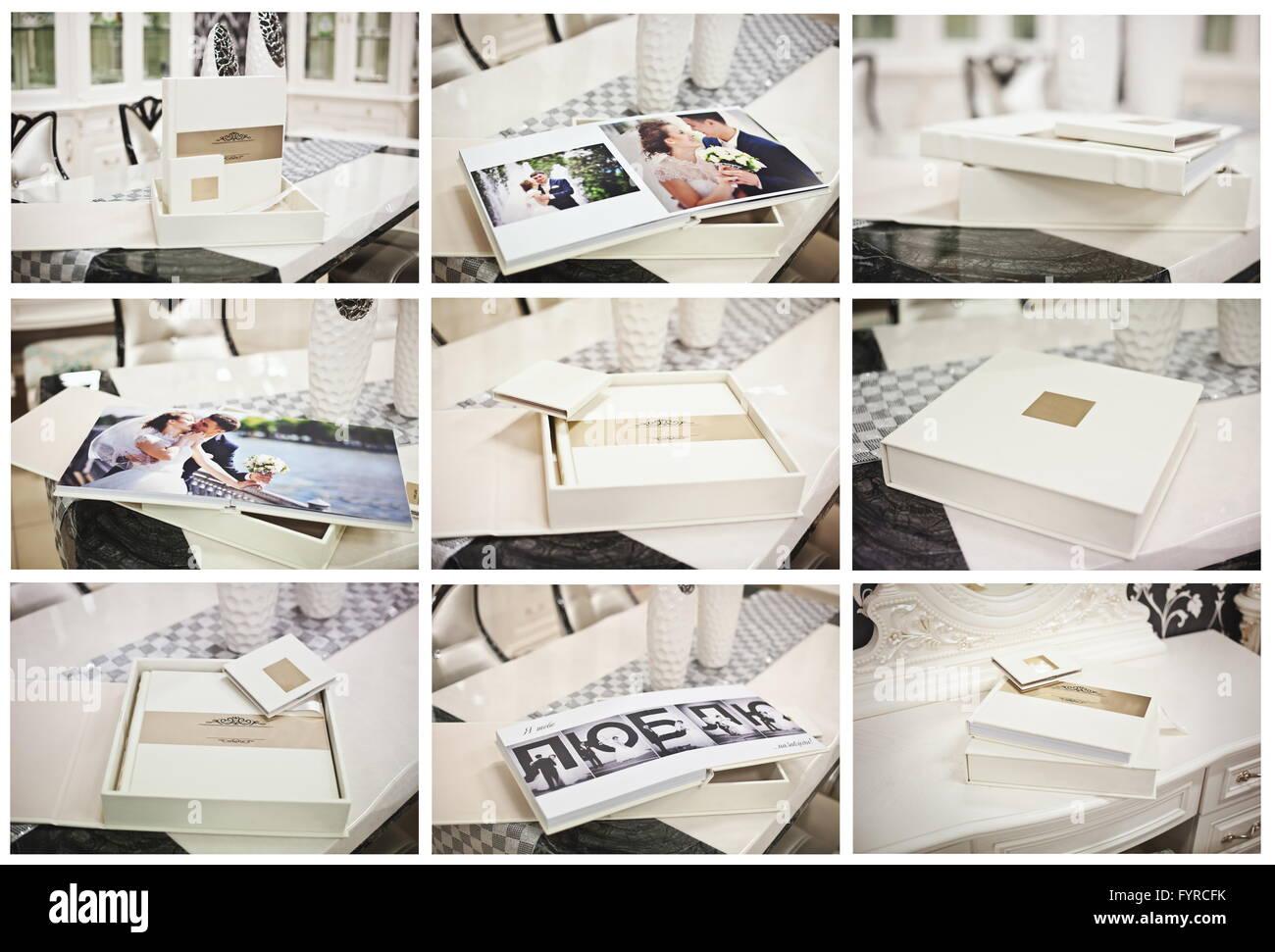 White classic wedding book and album - Stock Image