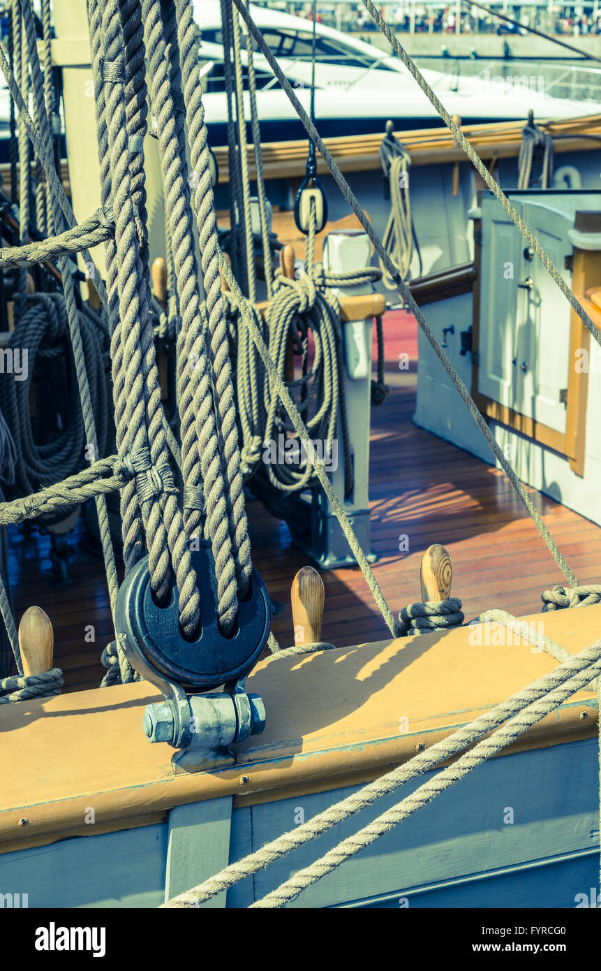 Blocks and tackles of a sailing vessel - Stock Image