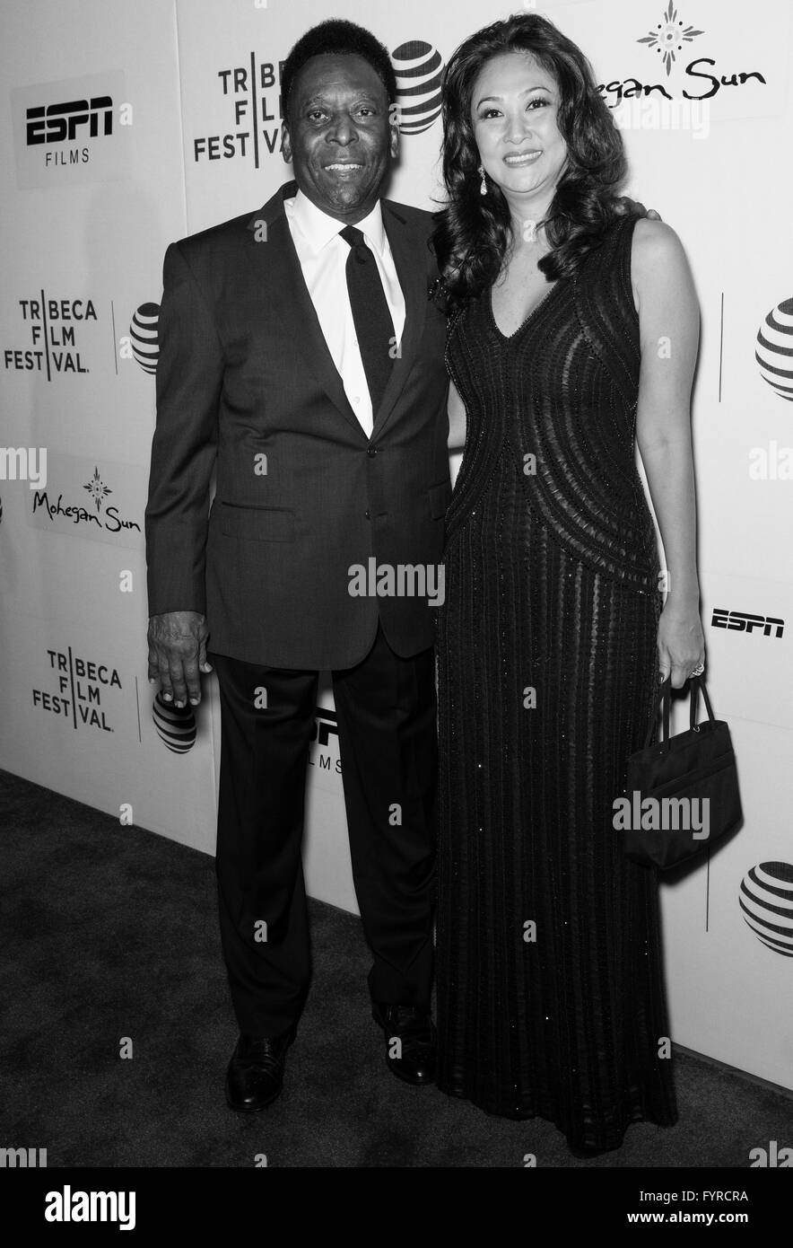 New York City, USA - April 23, 2016: Brazilian footballer Pele and Marcia Aoki attend - Pele: Birth Of A Legend - Stock Image