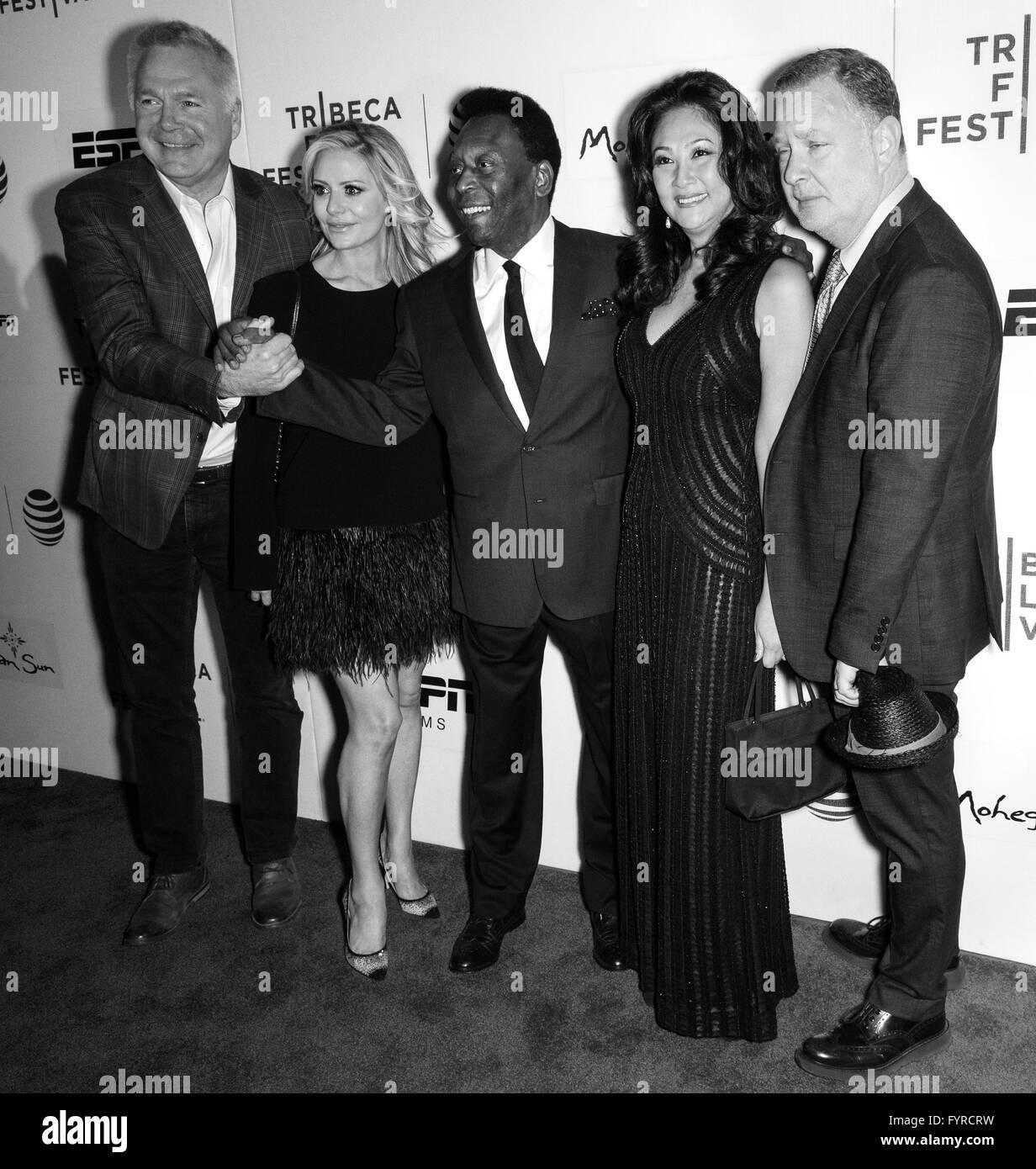 New York City, USA - April 23, 2016: Brazilian footballer Pele and Marcia Aoki attend - Pele: Birth Of A Legend - Stock Image