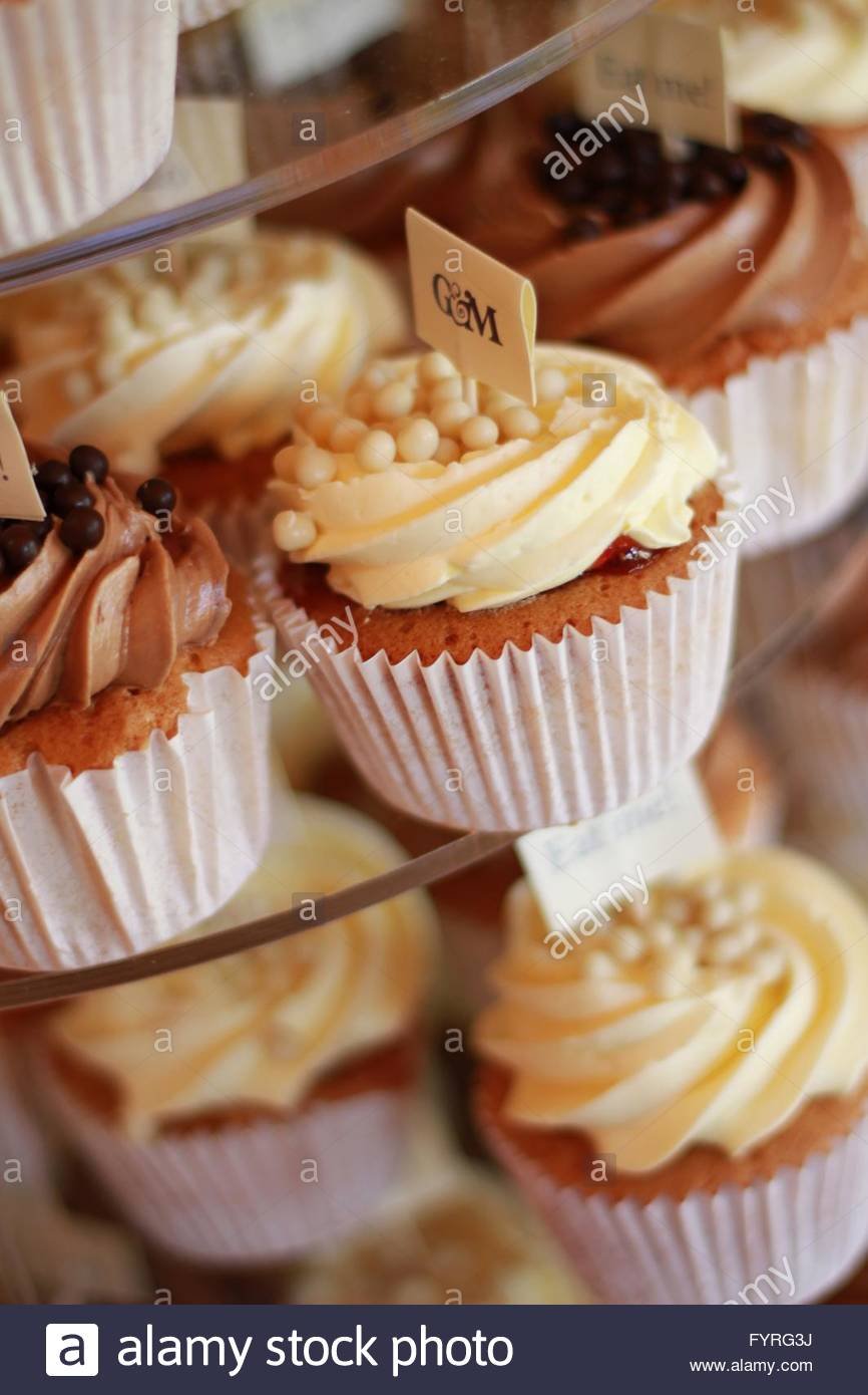 decorated cup cakes - Stock Image