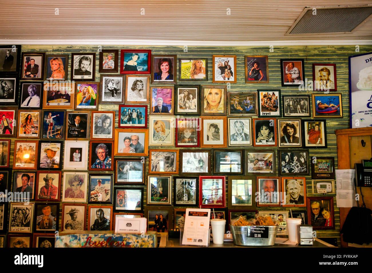 Signed celeb portraits on the walls inside the famous Loveless Cafe on Hwy 100, Nashville, TN - Stock Image