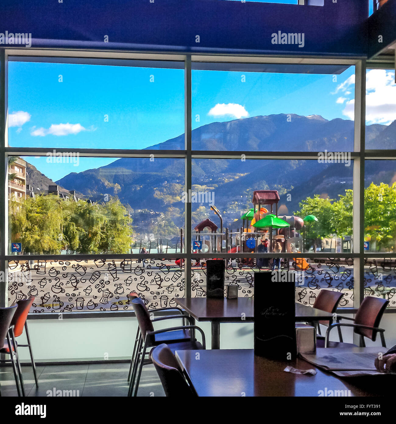 Rastaurant-Cafe in Andorra La Vella. Andorra. - Stock Image