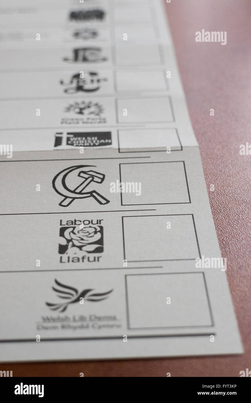 A ballot paper for the Wesh Assembly elections in 2016 - Stock Image
