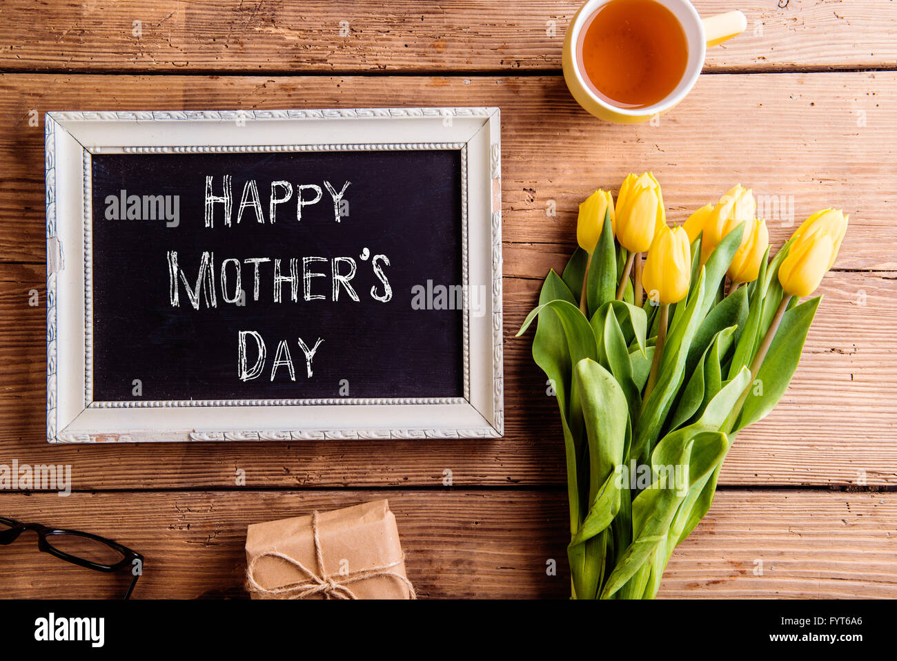 mothers day composition picture frame with chalk sign stock photo