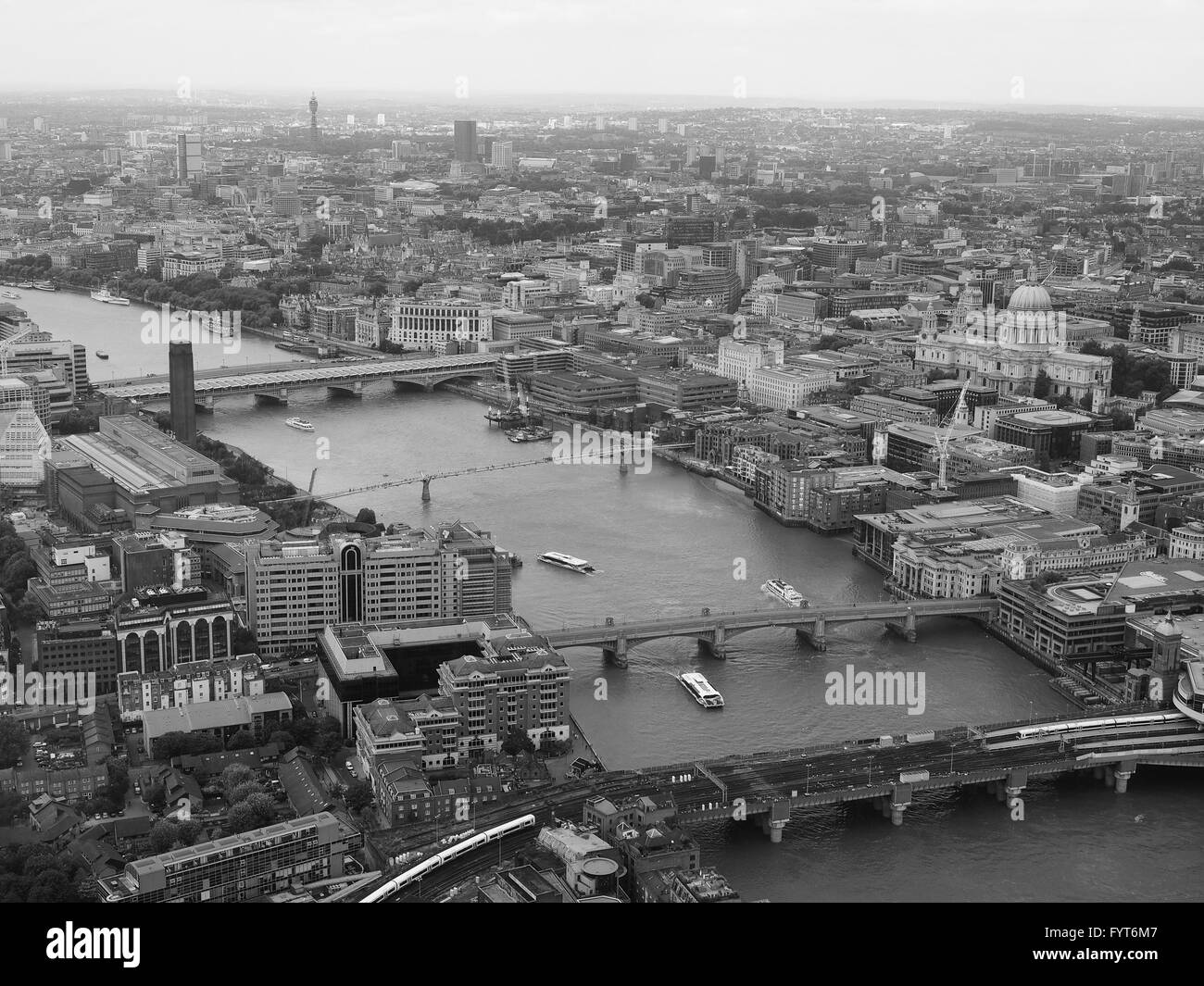 Black and white Aerial view of London - Stock Image