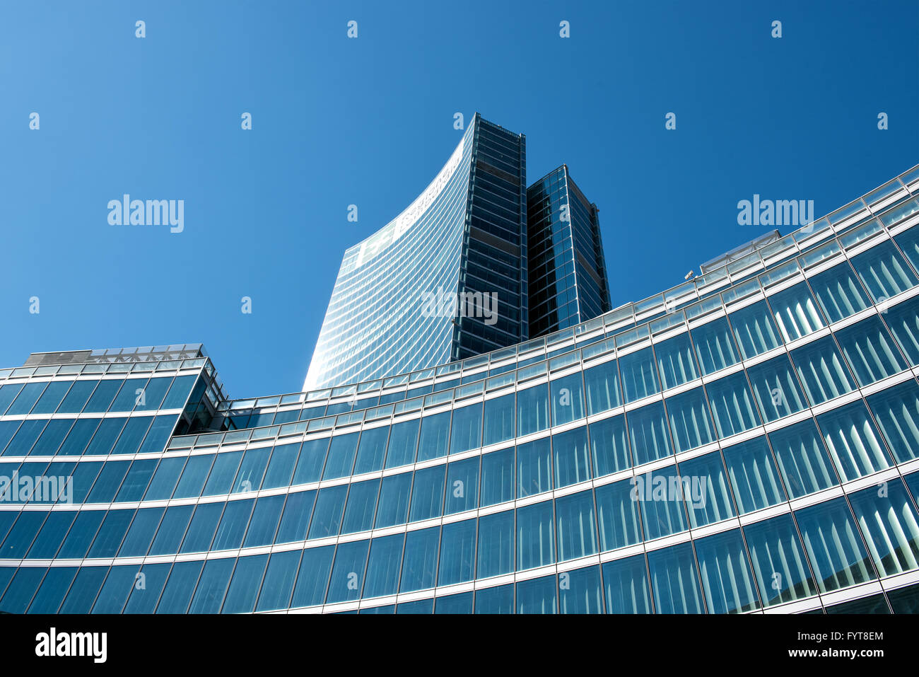 Beautiful modern glass and steel Palace of the regional Council of Lombardy building in Milan, Italy, Europe - Stock Image