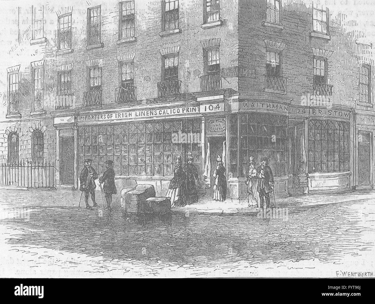 FLEET STREET: Waithman's shop. London, antique print c1880 - Stock Image