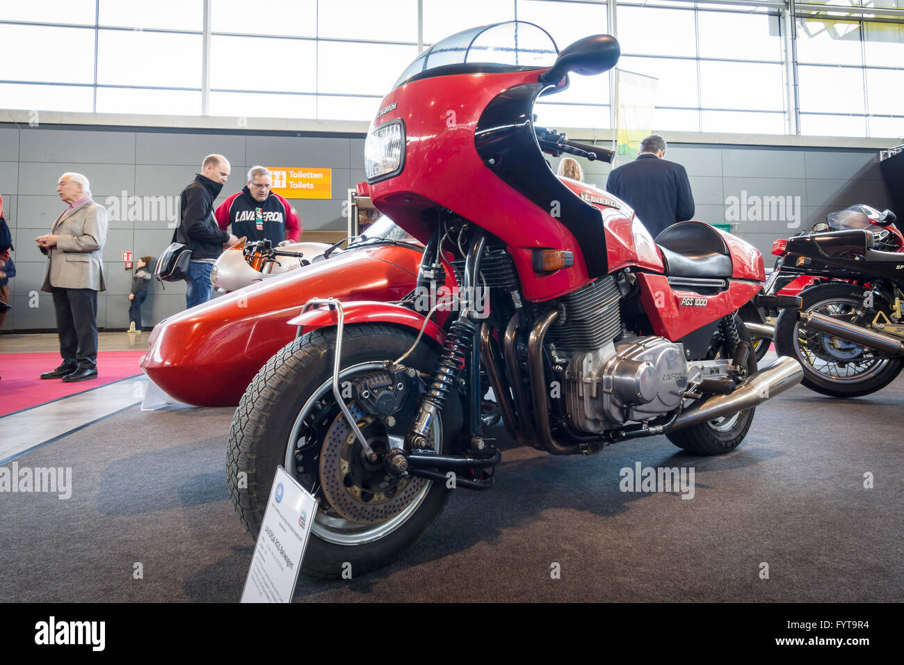 Motorcycle Laverda RGS, with a sidecar Carell-Shoo, 1983. - Stock Image