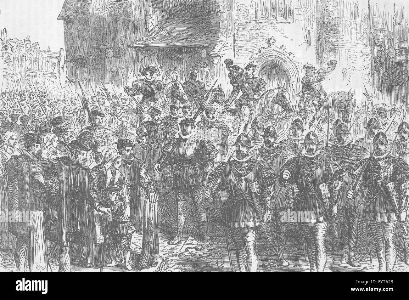 THREADNEEDLE STREET: March of the archers. London, antique print c1880 - Stock Image