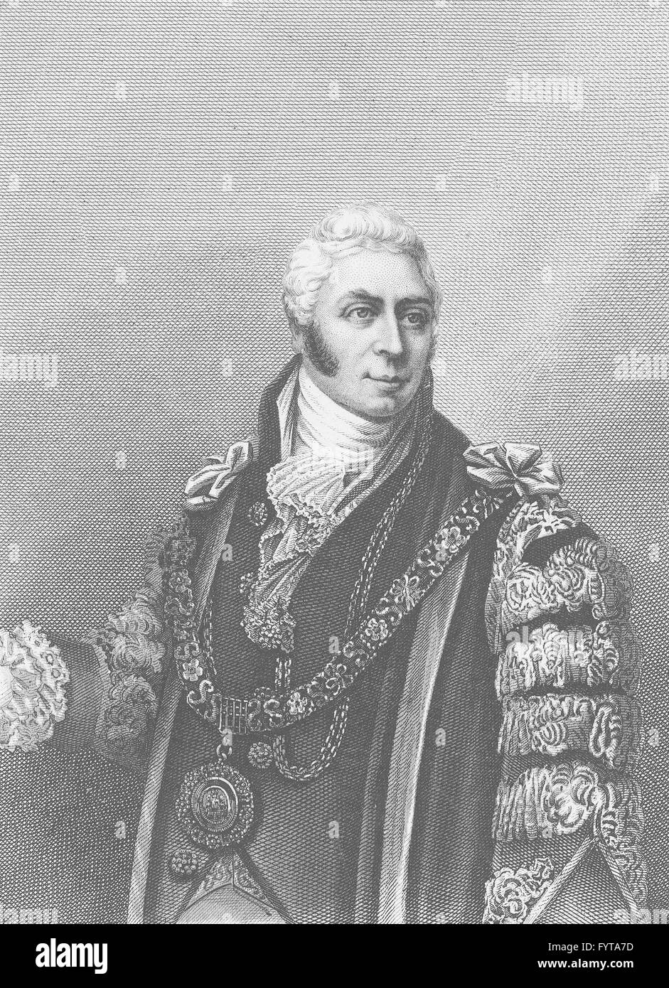LORD MAYOR OF LONDON: Sir Matthew wood, antique print c1880 - Stock Image