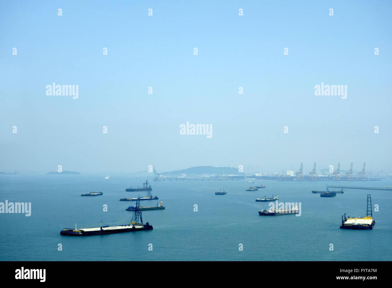 shanghai harbour Stock Photo
