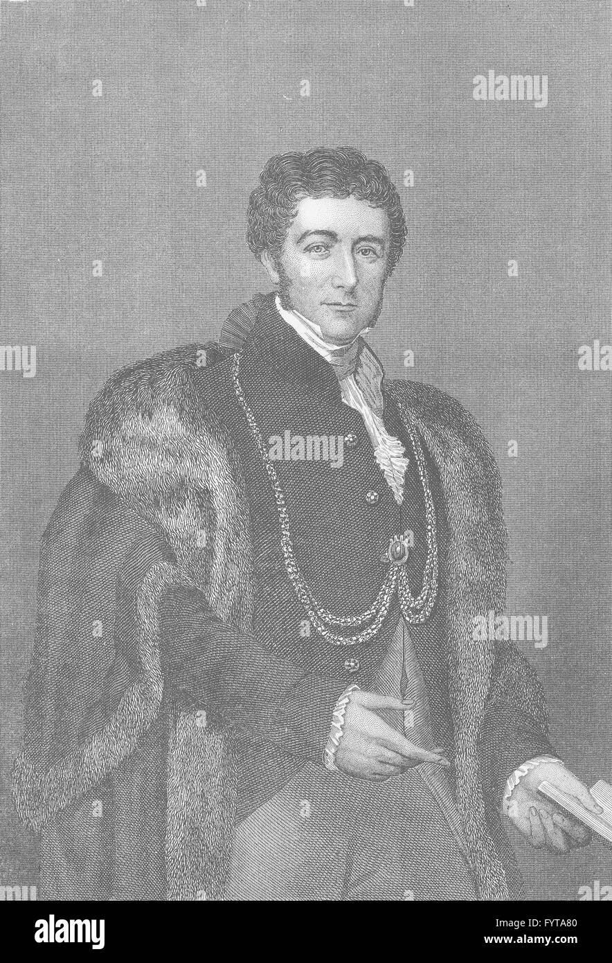 LORD MAYOR OF LONDON: Sir Peter Laurie, antique print c1880 - Stock Image