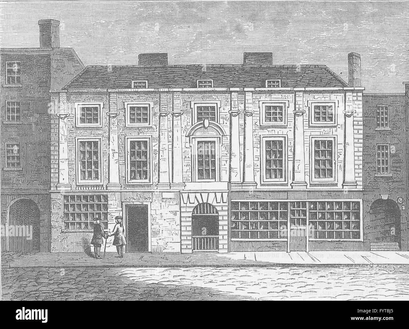 ALDERSGATE STREET: Shaftesbury House in 1810. London, antique print c1880 - Stock Image