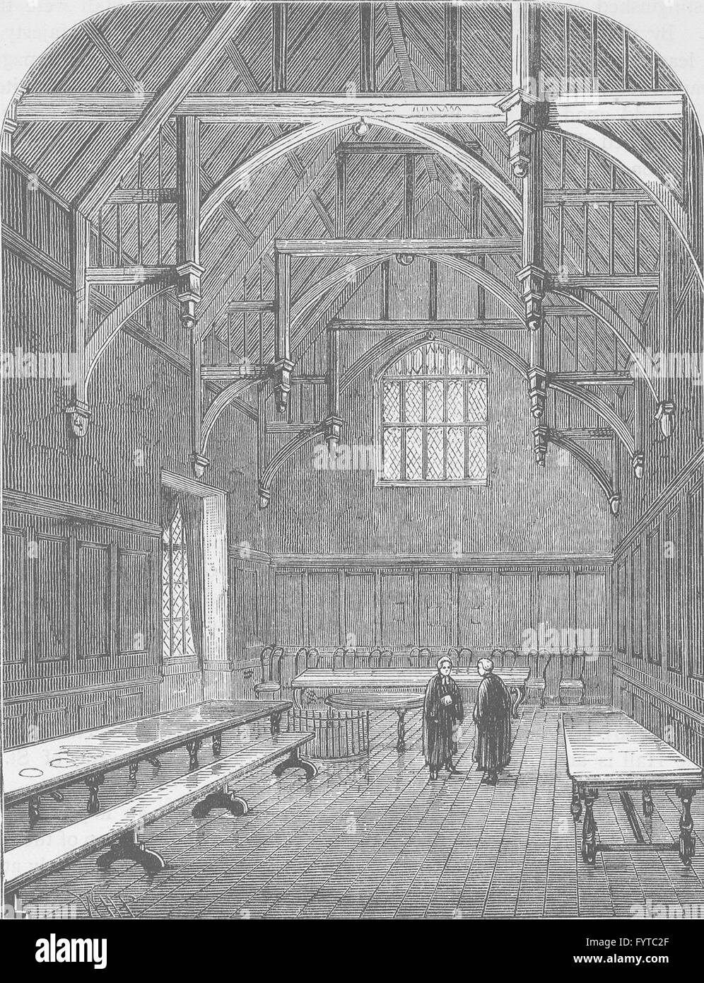 THE HOLBORN INNS OF COURT AND CHANCERY: The Hall of Gray's Inn. London, c1880 - Stock Image