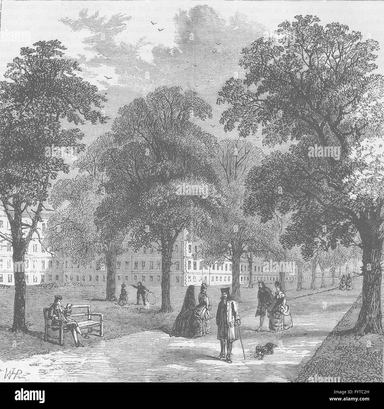 THE HOLBORN INNS OF COURT AND CHANCERY: Gray's Inn Gardens, 1770. London, c1880 - Stock Image