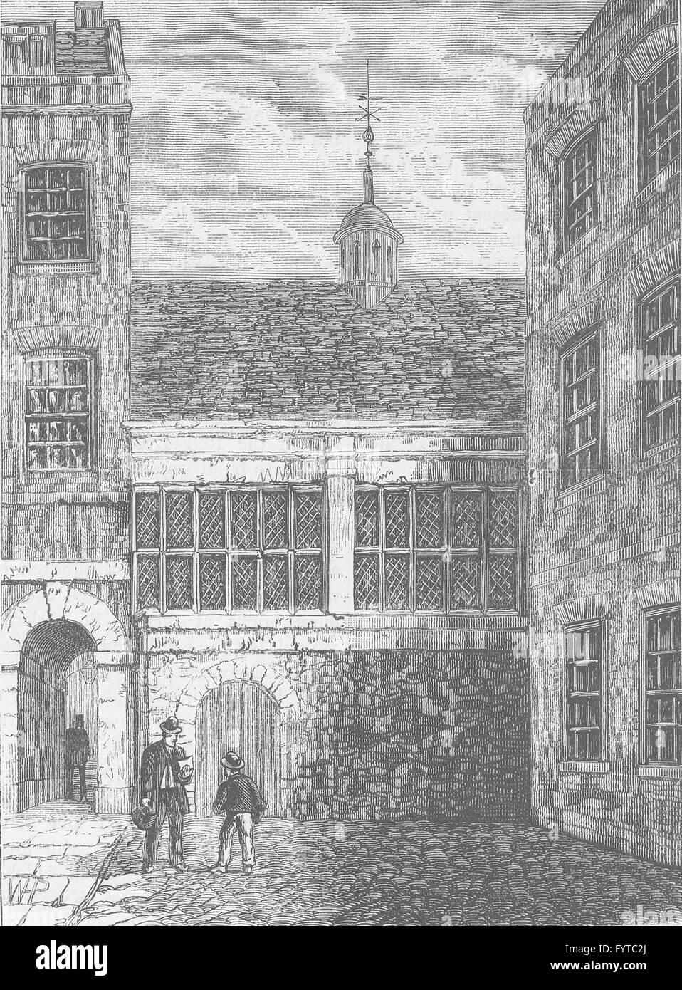 THE HOLBORN INNS OF COURT AND CHANCERY: Barnard's Inn. London, old print c1880 - Stock Image