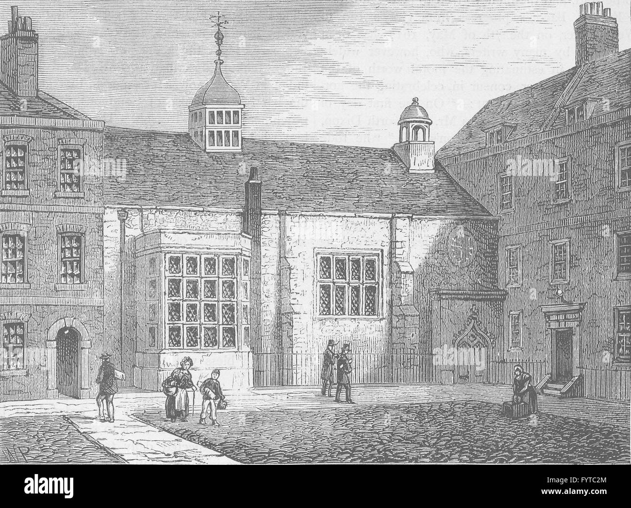 THE HOLBORN INNS OF COURT AND CHANCERY: Staple Inn. London, old print c1880 - Stock Image