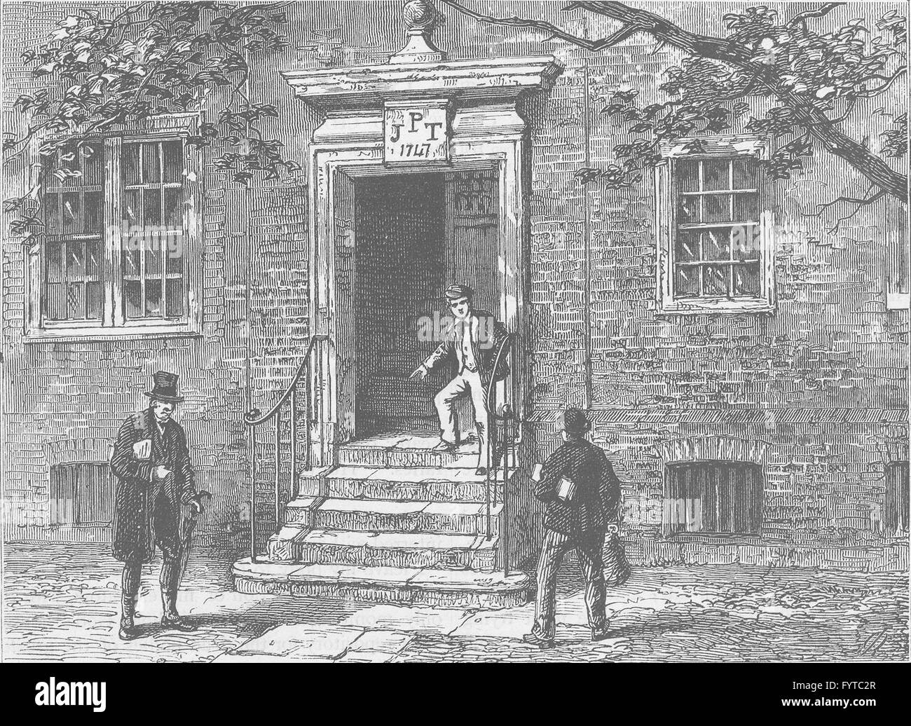 THE HOLBORN INNS OF COURT AND CHANCERY: Doorway in staple Inn. London, c1880 - Stock Image