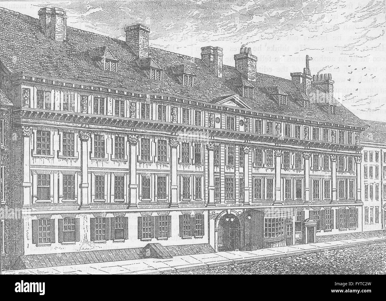 THE HOLBORN INNS OF COURT AND CHANCERY: Exterior of Furnival's Inn, 1754, c1880 - Stock Image