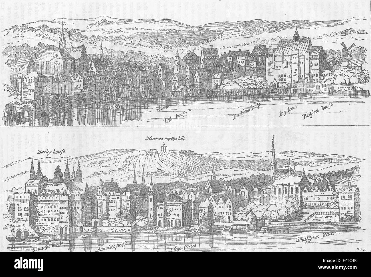 LINCOLN'S INN: The strand, from the Thames, sixteenth century. London, c1880 - Stock Image