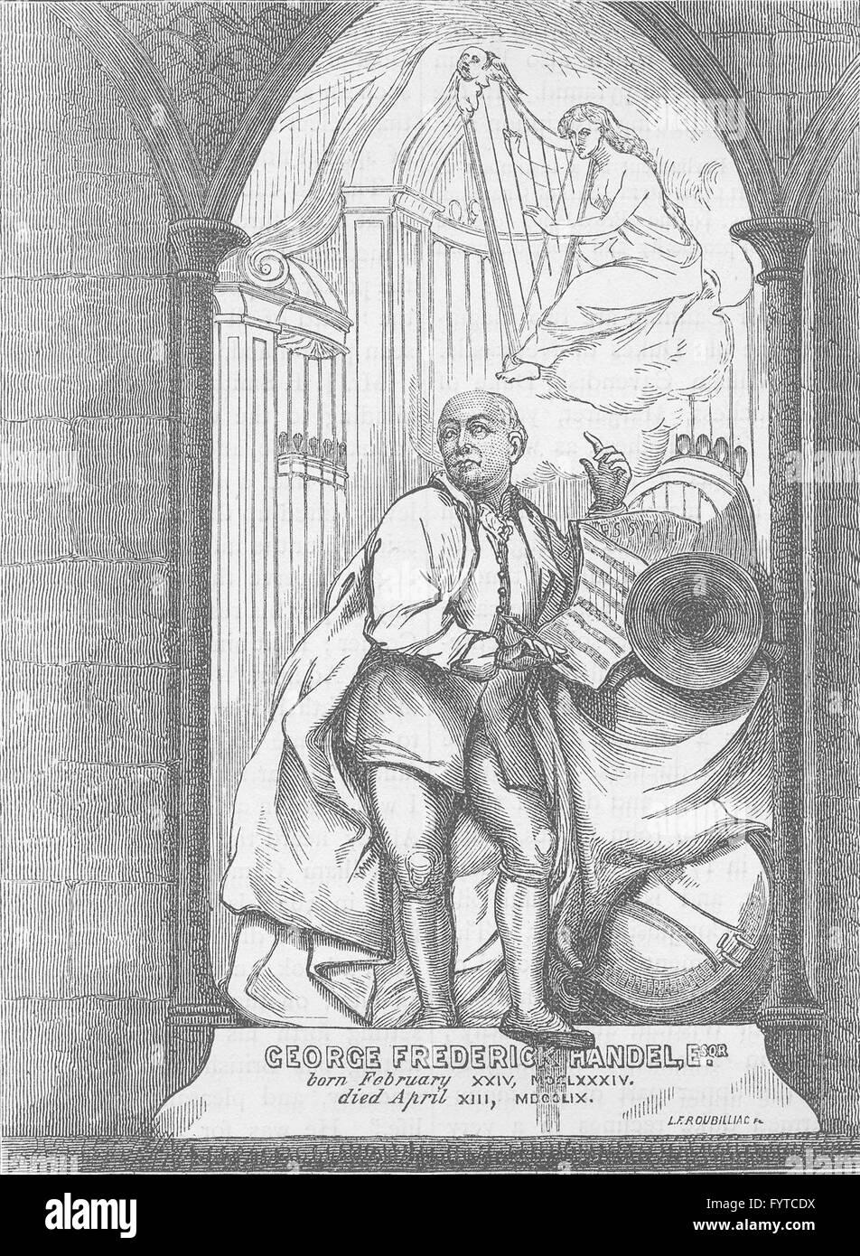 WESTMINSTER ABBEY: Handel's monument. London, antique print c1880 - Stock Image