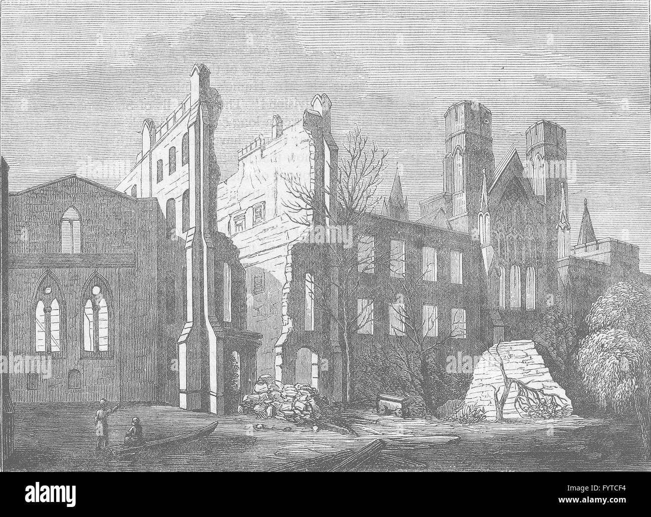 ROYAL PALACE OF WESTMINSTER: Houses of Parliament after the fire, in 1834, c1880 - Stock Image