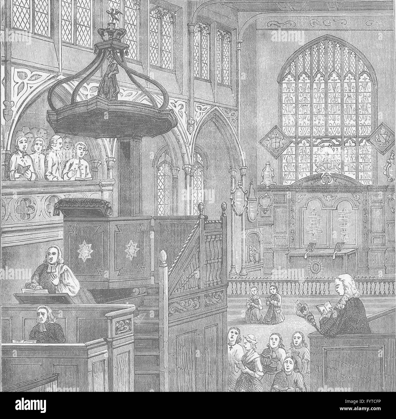 WESTMINSTER: Interior of St.Margaret's church in 1695. London, old print c1880 - Stock Image