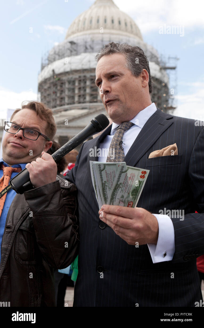 Man playing a Washington Lobbyist at a political rally - Washington, DC USA - Stock Image
