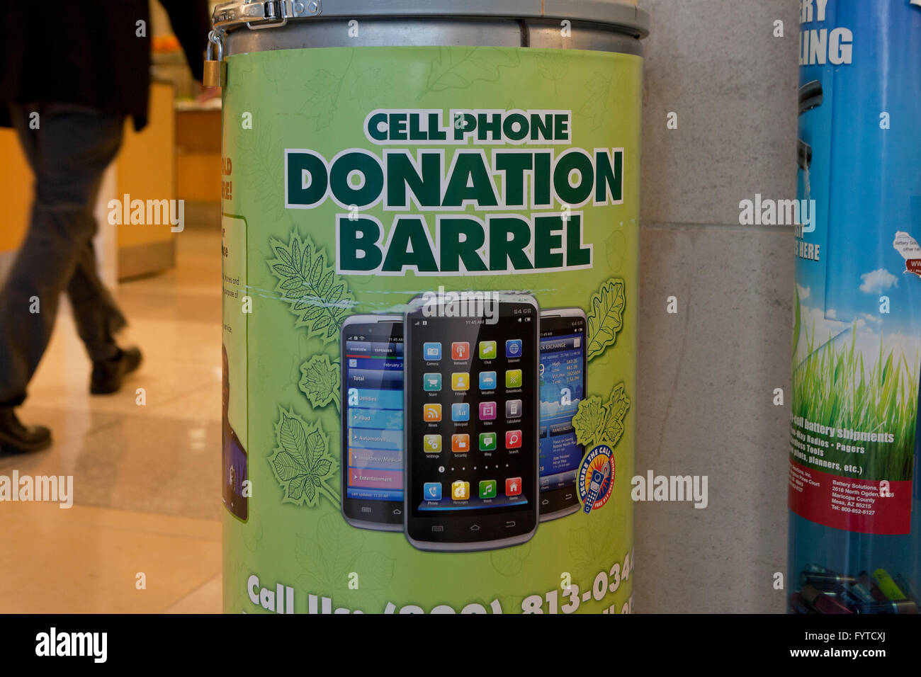 Cell phone donation collection box - USA - Stock Image