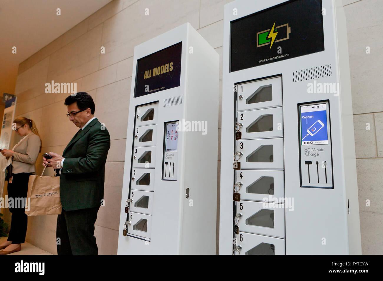 Mobile phone charging station - USA - Stock Image