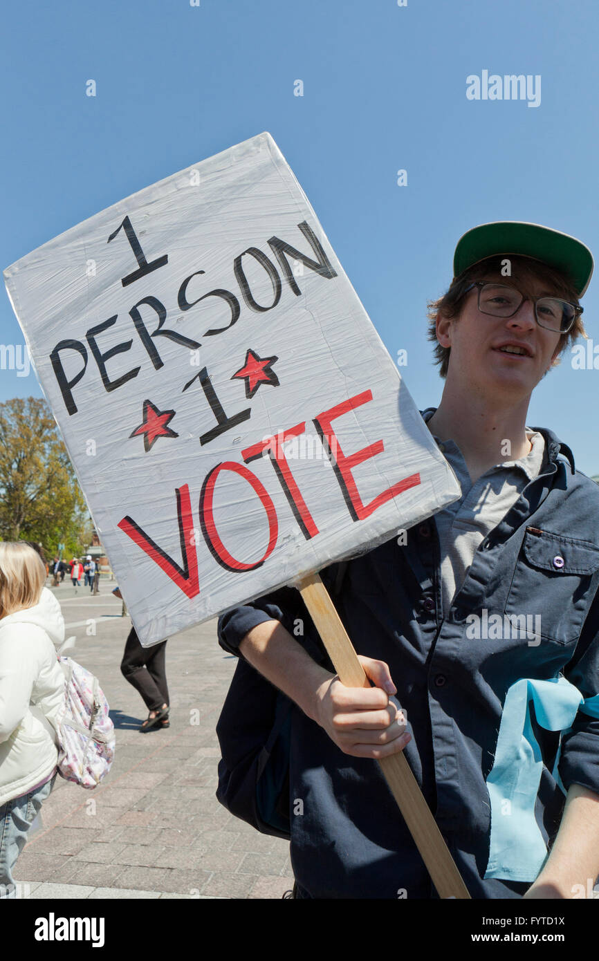 Liberal protester with 1 person 1 vote sign - Washington, DC USA - Stock Image