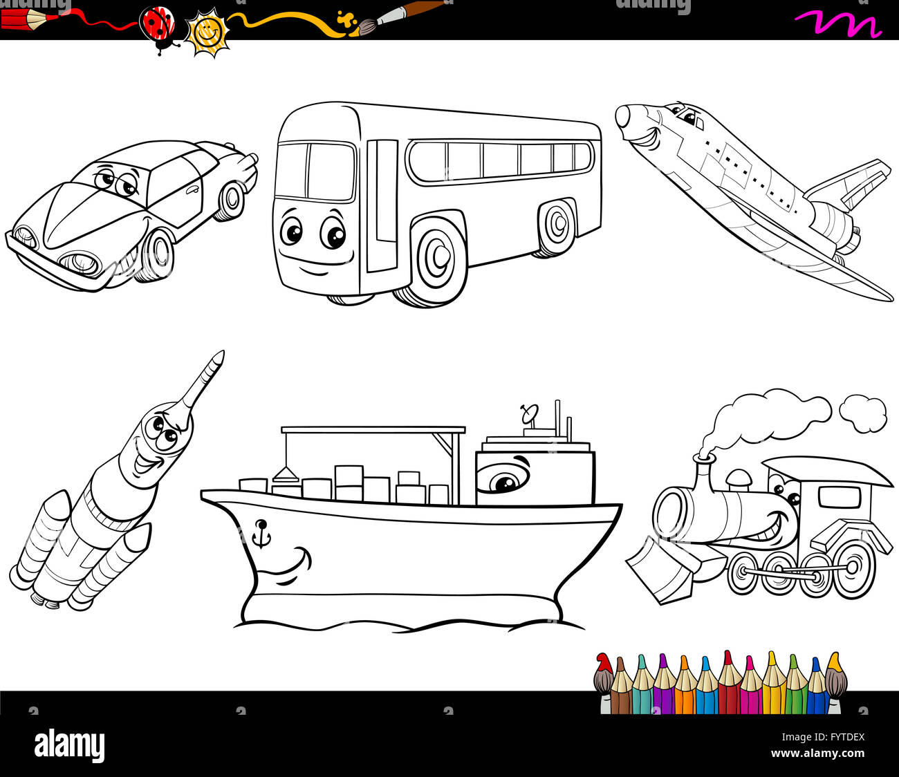 Transport Vehicles Coloring Page Stock Photo 103185010 Alamy