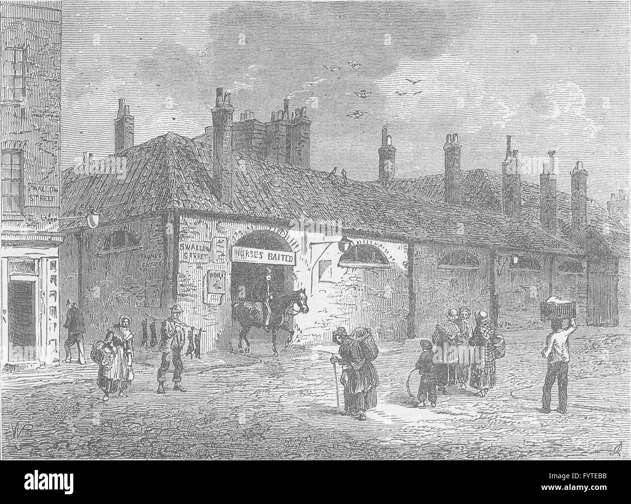 REGENT STREET AND PICCADILLY: Old stables in Swallow Street, 1820. London, c1880 - Stock Image