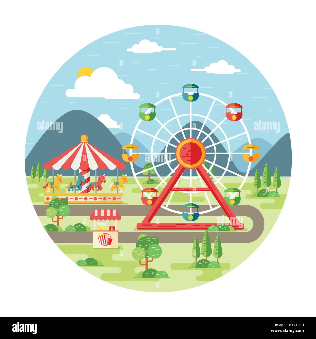 Carnival, amusement park flat illustration - Stock Vector
