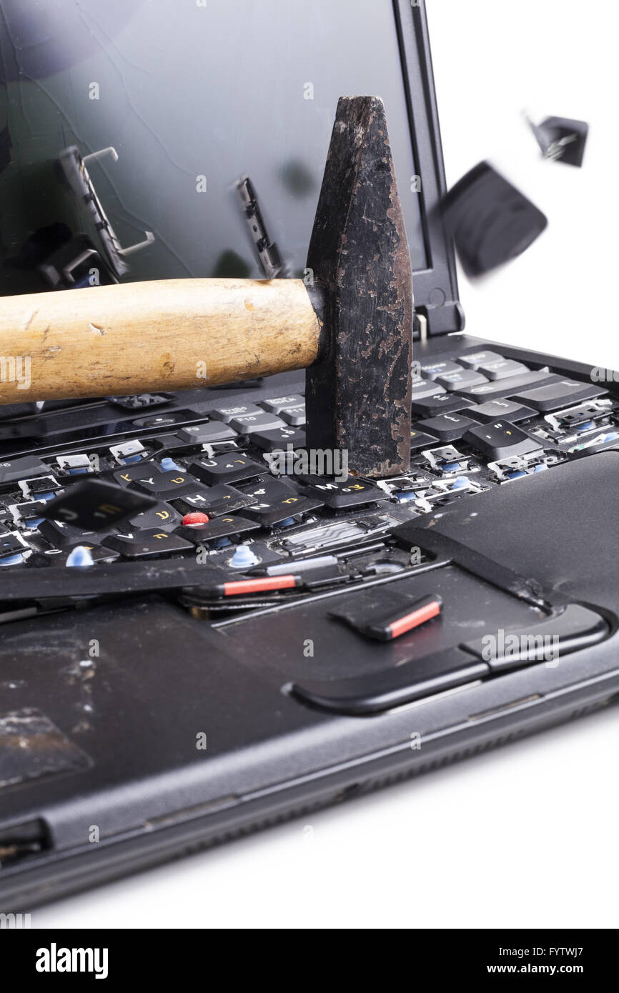 Smashing The Laptop - Stock Image