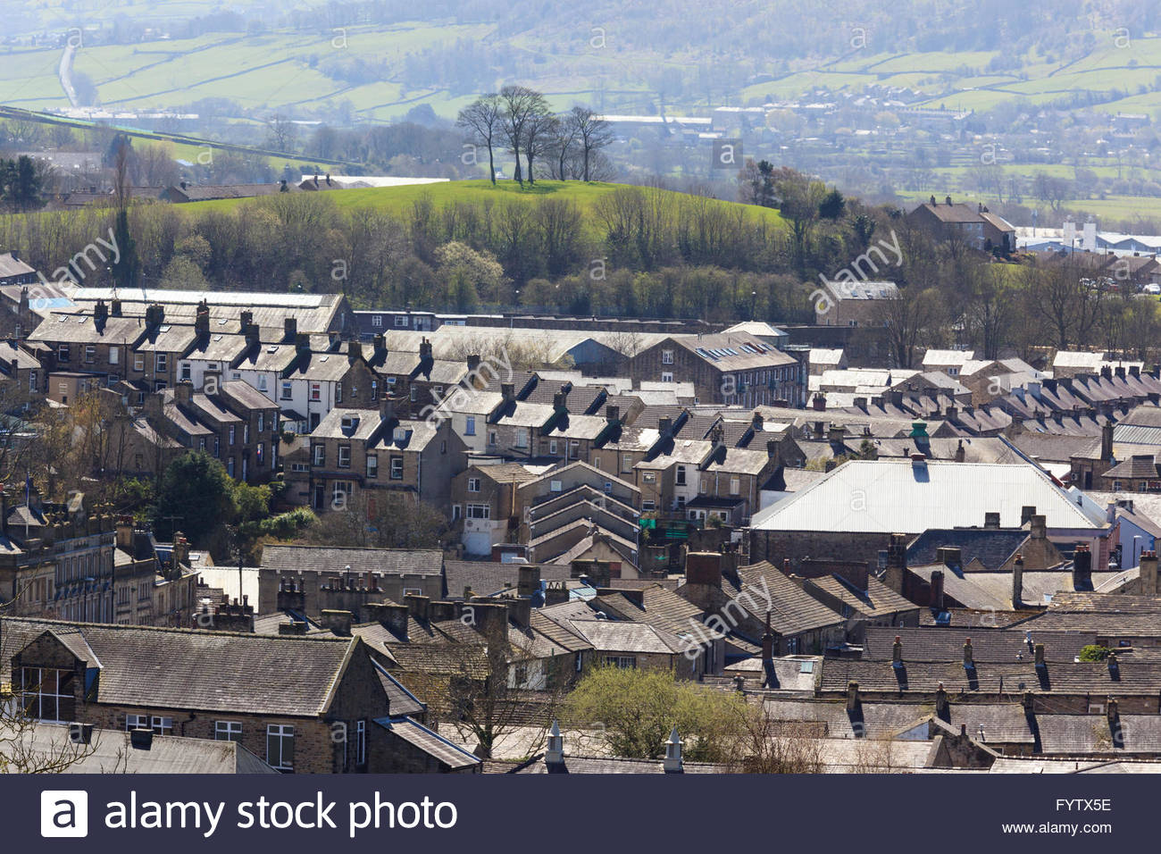 View across Skipton houses and Aire valley / Airedale Skipton North Yorkshire England UK - Stock Image