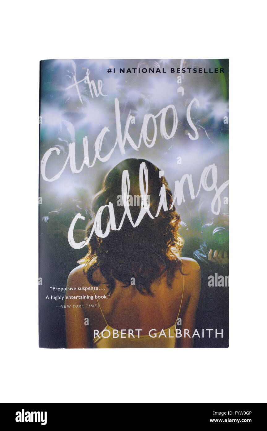 The front cover of The Cuckoo's Calling by Robert Galbraith photographed against a white background. - Stock Image