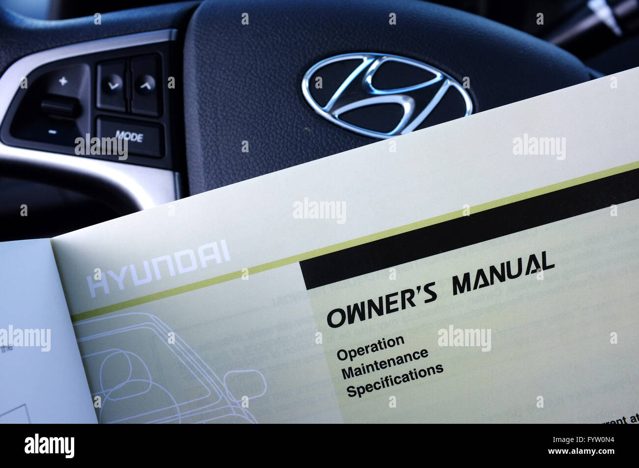 Hyundai Owners Manual Stock Photos Accent Schematic A In Front Of Steering Wheel Image