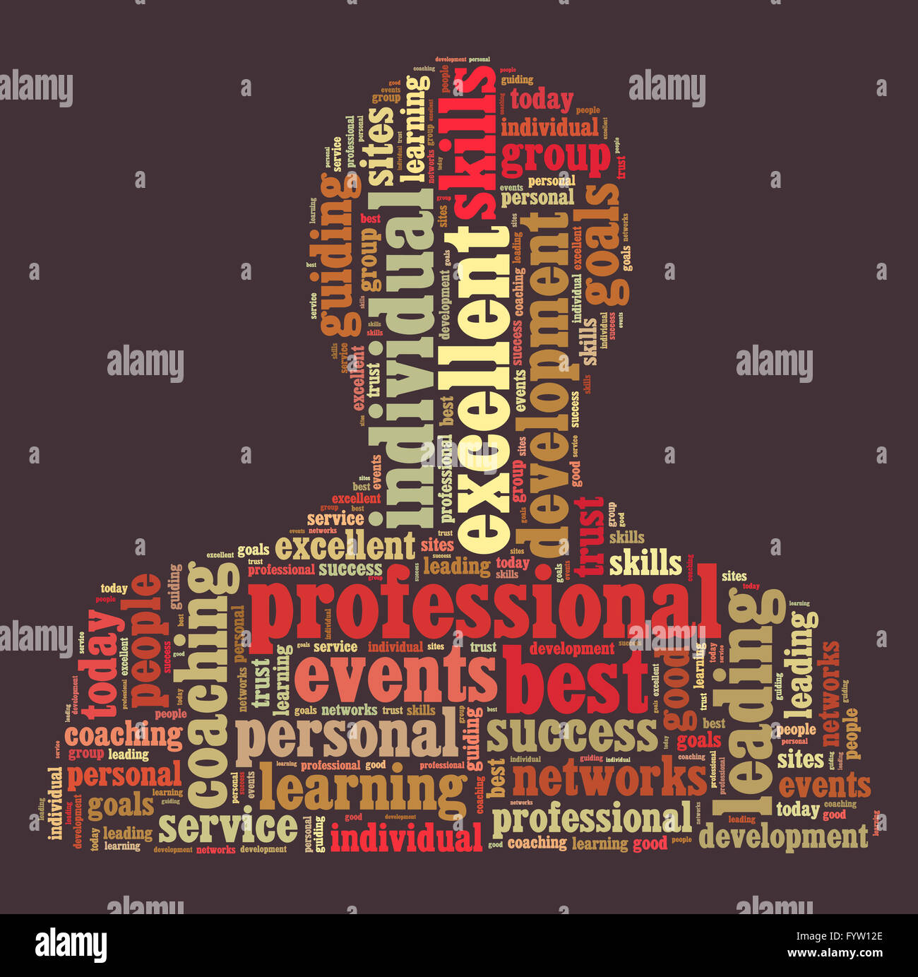 Professional word cloud shaped as a person - Stock Image