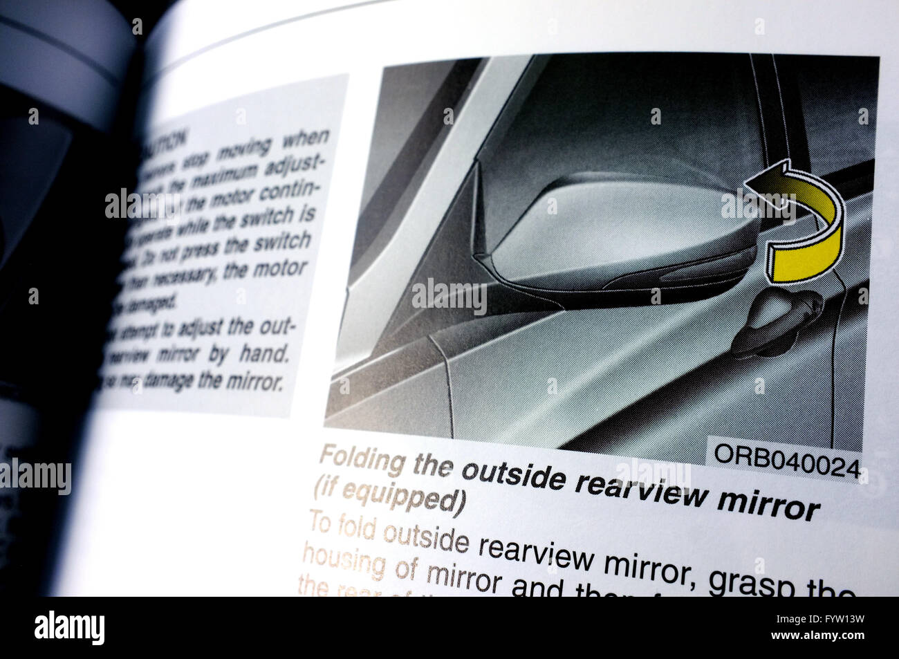 pages about the rearview mirror in a hyundai accent owner's manual stock  photo - alamy  alamy