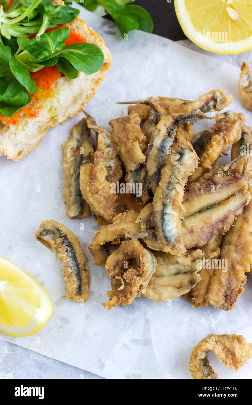 Deep Fried Anchovies - Stock Image