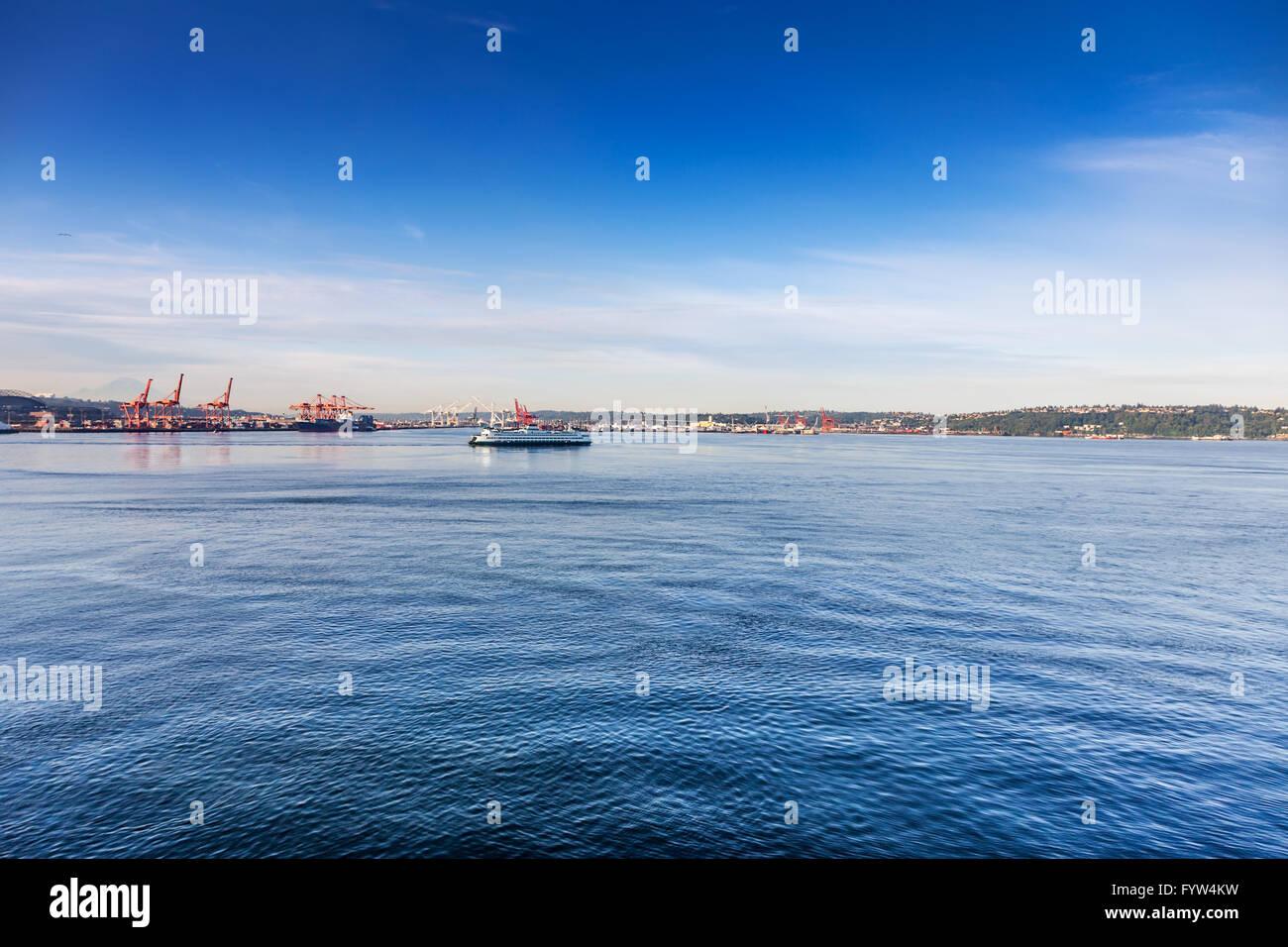 Washington State Ferry in Elliot Bay - Stock Image