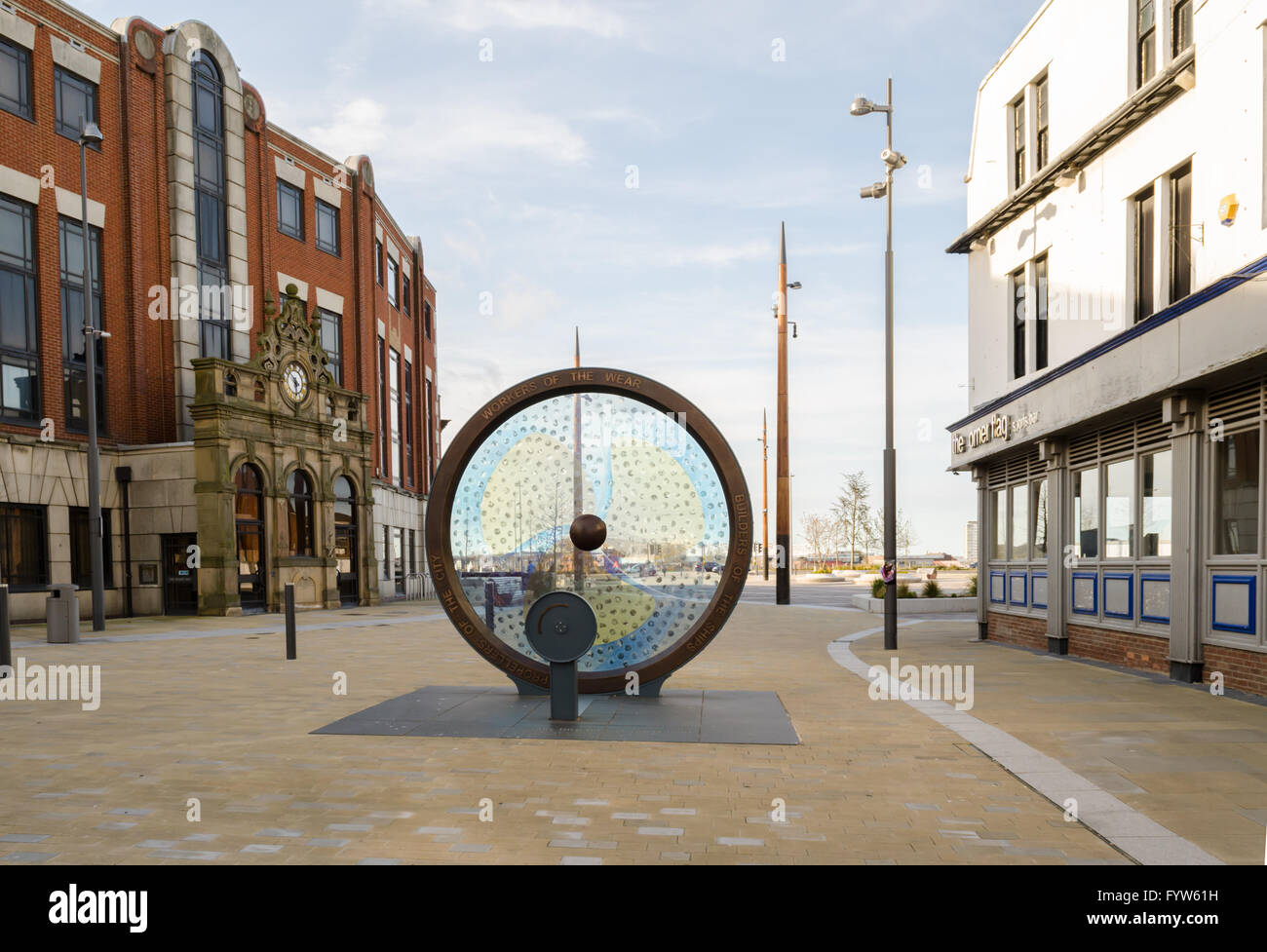 'Propellers of the City' by Stephen Broadbent, public artwork installation at Keel Square, Sunderland, Tyne - Stock Image